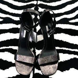 Zara Woman Metallic Snake Print Ankle Strap Heel
